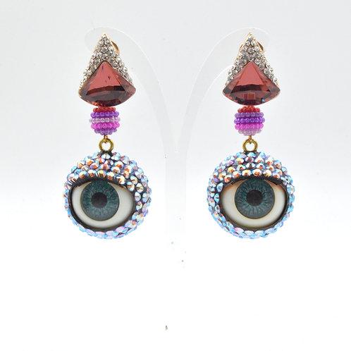 幻彩橙色施華洛水晶石 眼球眼珠耳環 24mm直徑 眨眼睡眼Swarovski