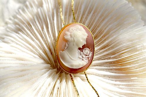古董貝殼浮雕女神圖案伸縮頸鍊 日本高級二手古著貴婦輕珠寶首飾