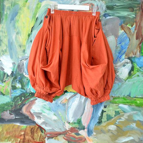 TIMBEE LO 橙橘色塊拼貼四方檯型剪裁泡泡褲 橡皮筋褲頭有彈性