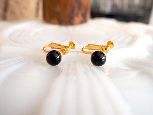黑色樹脂珠子夾式耳環耳夾 貴婦人淑女 日本高級二手古著珠寶首飾