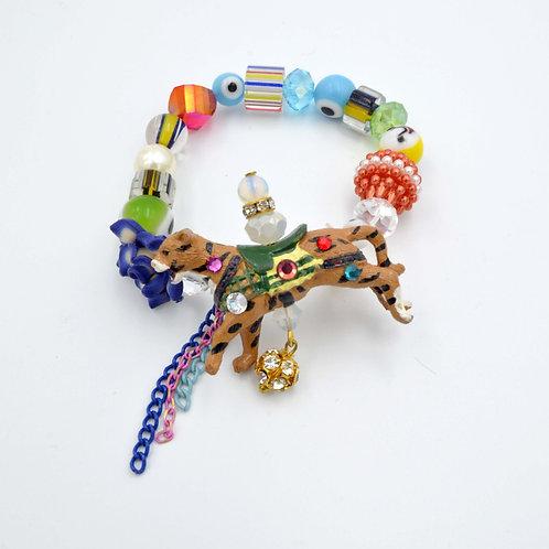 旋轉花豹獅子寶石串珠手鍊 復古旋轉木馬擺設零件製作 限量製作