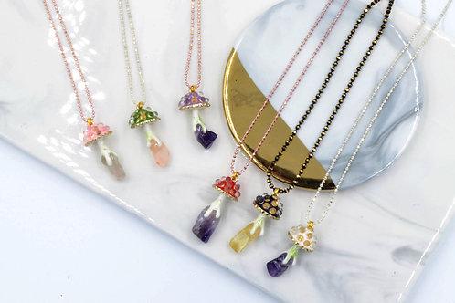 Gookaso 蘑菇紫水晶魔法石頸鏍項鍊  粉晶 紫晶 綠松石 綠幽靈 Magic Mushroom with Gemstone Necklace