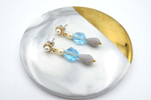 Swarovski 施華洛水晶不規則切割水晶耳環 適合上班族輕巧時尚簡約