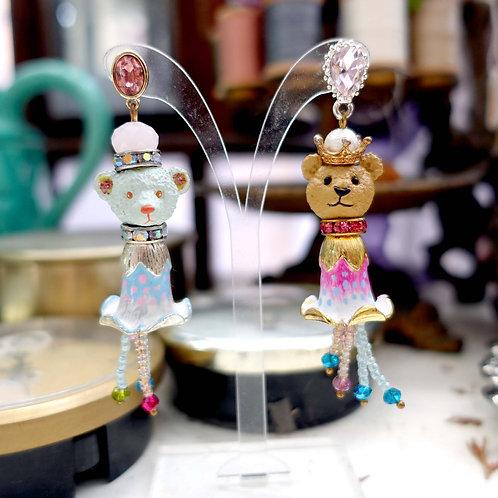 TIMBEE LO 小熊頭皇冠鈴蘭花身體藝術創作耳環耳扣耳夾 珠寶水晶