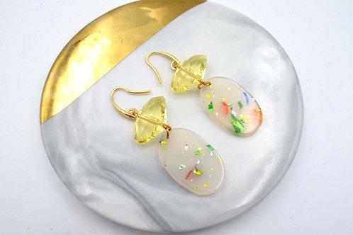 黃色水晶綴幻彩膠片耳環  Yellow Swarovski Crystal with Aura Plastic Charm Earrings