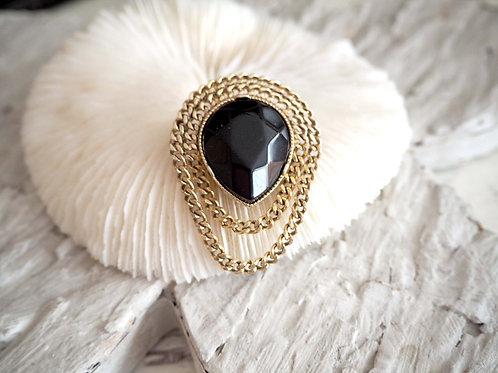 黑色樹脂石鍍金鏈胸針 高貴優雅 日本二手中古珠寶首飾古著