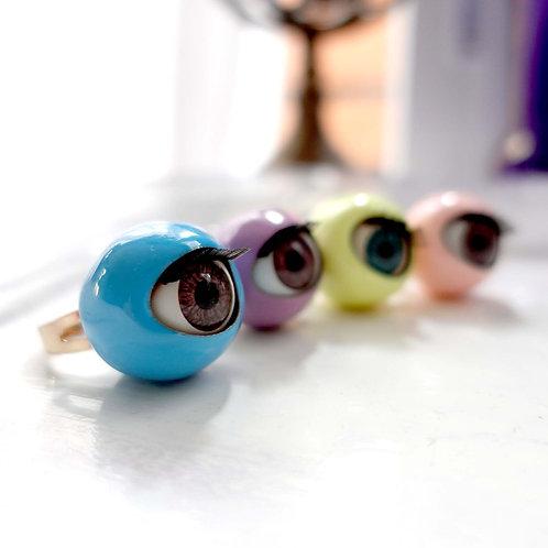 TIMBEE LO 20mm 糖果色眼珠戒指 紅黑白粉紅薄荷紫藍檸檬黃8色
