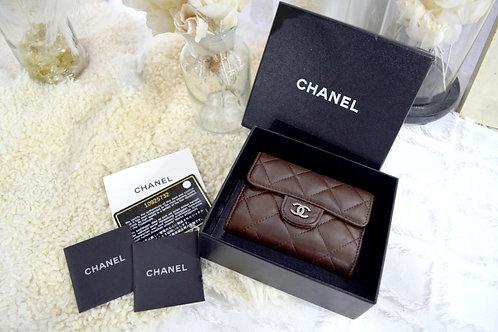 Chanel 咖啡色小羊皮荾格零錢包小卡包 有卡有盒 奢華復古二手古著