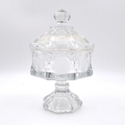 美國中古立體水晶型浮雕玻璃糖果罌小物罐 古董老件商品 品牌不明