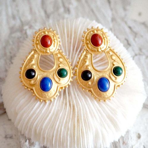 80年代超華麗 鍍金花配彩色珠子夾耳環 日本高級二手中古珠寶首飾