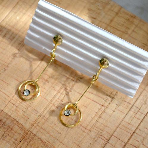 中古長墜型鍍金圈水鑽耳夾 貴婦淑女 日本高級二手古著珠寶首飾