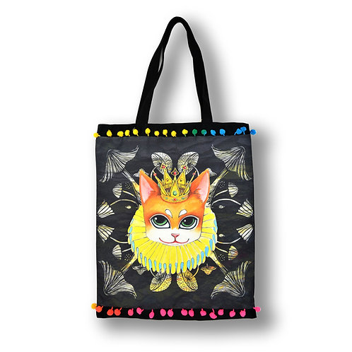 GOOKASO 貓咪國王 雙面購物袋 TOTE BAG 棉麻印花圖案 背面日本和服織錦綢緞 綴彩色小球花邊