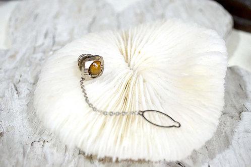 華麗鍍銀爪鑲貓眼石胸針 高貴優雅 日本二手中古珠寶首飾古著