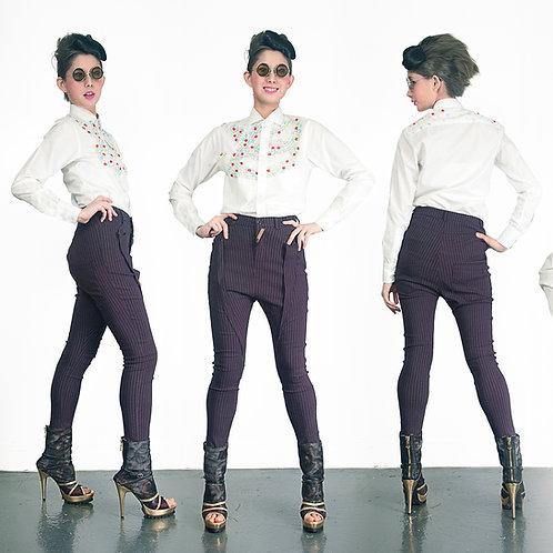 TIMBEE LO 女裝超彈性顯修長窄腳長褲 紫色直條子 低褲浪摺角袋口 的副本 的副本
