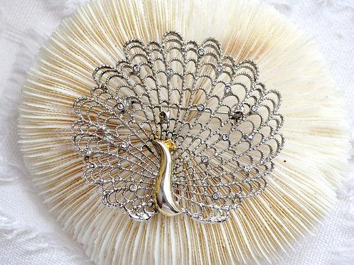 日本鍍銀孔雀通花胸針 貴婦少女輕珠寶 日本高級二手古著珠寶首飾
