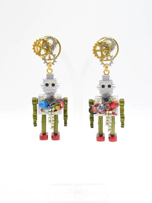TIMBEE LO 手工製 爆炸機械人耳環 齒輪耳釘 懷舊機器人 STEAMPUNK