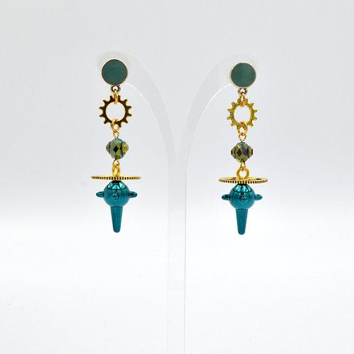 綠色星球流星槌齒輪耳環
