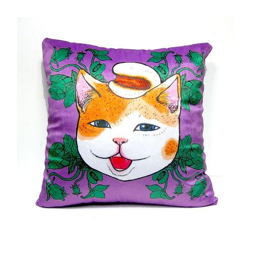 Gookaso原創繪本設計創作 薏米圖貓咪卡通絲絨質印花抱枕 45x45cm 的副本