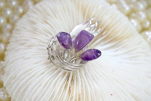 紫水晶鍍銀葉子胸針 輕珠寶 貴婦少女 日本高級二手古著珠寶首飾