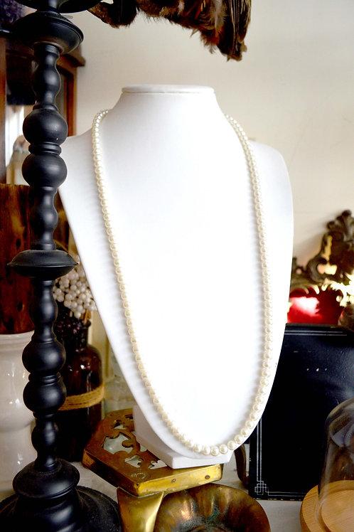 復古轉式鍊頭中長珍珠項鍊 高貴優雅 日本二手中古珠寶首飾古著