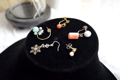 散裝五隻單隻耳夾 紅珊瑚寶石耳環 貴婦少女 輕珠寶 日本高級二手古著珠寶首飾