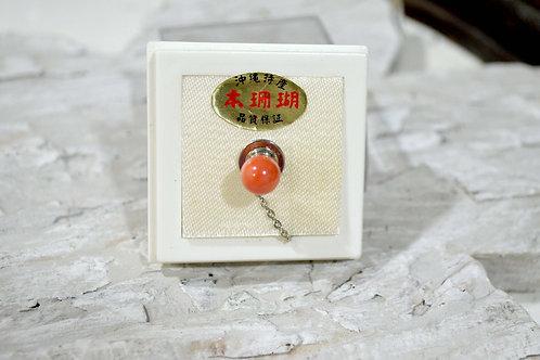 稀有紅珊瑚鍍銀胸針 高貴優雅 日本二手中古珠寶首飾古著
