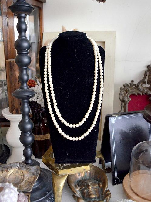 復古珍珠鍍銀扣雙層珍珠項鍊 高貴優雅 日本二手中古珠寶首飾古著