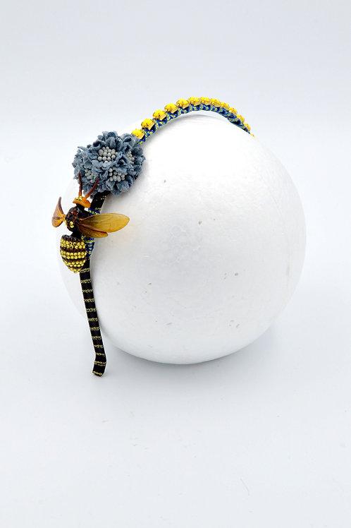 蜜蜂綴施華洛水晶 藍絲帶絨花髮箍