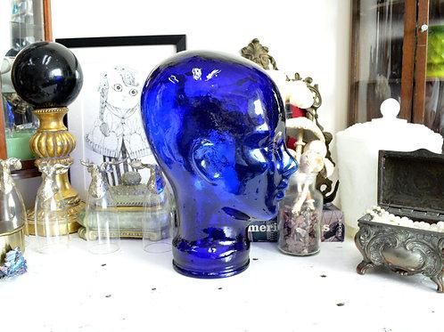 西班牙製藍色玻璃人頭擺設