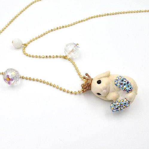 賓尼兔子配小水晶吊飾 銅質珠鍊 綴施華洛水晶鞋子項鍊
