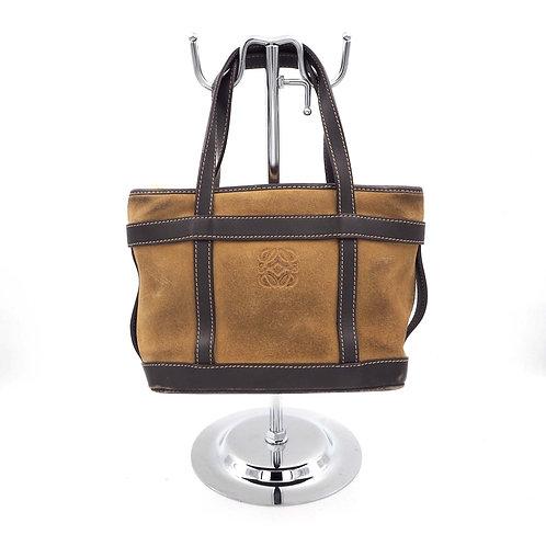 中古LOEWE泥黃色真皮猄皮手提袋手袋包包 意大利高級二手古著珠寶