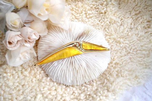 鍍金水鑽黃色樹脂翅膀胸針 貴婦少女 輕珠寶 日本高級二手古著珠寶首飾