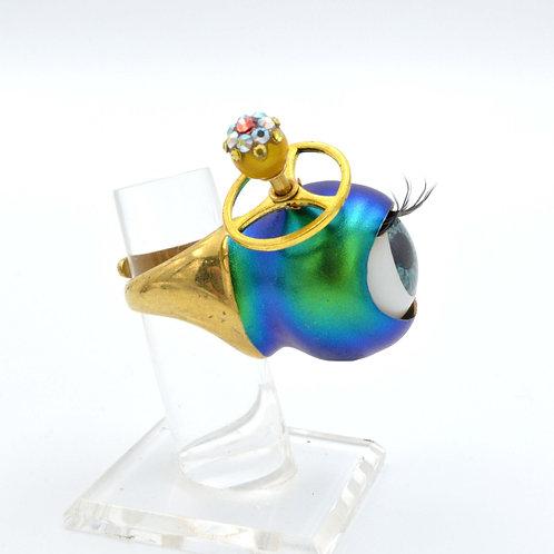 炫彩藍綠金屬色國王26mm眼珠戒指 外星怪獸系列  黃銅戒指圈 尺寸可調整