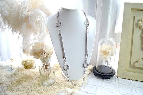 銀色鍍銀海軍風水鑽項鍊 貴婦少女 輕珠寶 日本高級二手古著珠寶首飾
