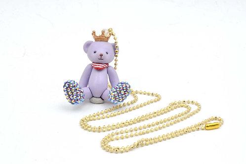 TIMBEE LO 粉紫色活動皇冠小熊頸鍊 綴上施華洛水晶腳子 全手工製作