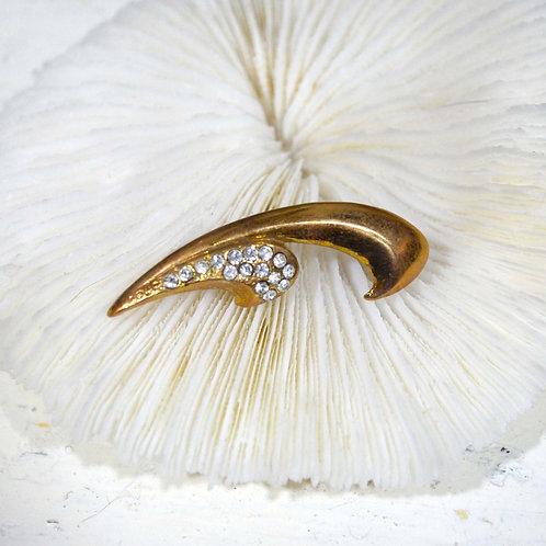 古銅勾型閃鑽胸針 高貴優雅 日本高級二手中古珠寶首飾