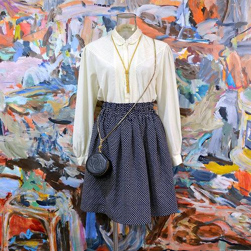 奶油米白色小圓領百摺邊寬鬆尼龍襯衫 高貴優雅 日本昭和文青古著