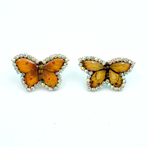 美國設計師木片蝴蝶圖案標本風耳環耳釘 厚身木質製作 綴施華洛水晶鍊