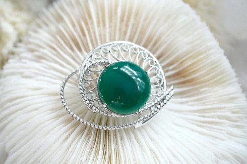 中古綠色純色高級瑪瑙寶石胸針心口針 日本高級二手古著珠寶首飾