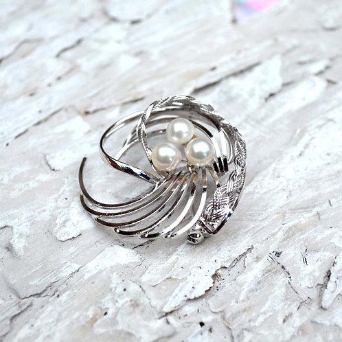 銀色流線型淡水珍珠胸針 貴婦風格 日本高級二手中古珠寶首飾