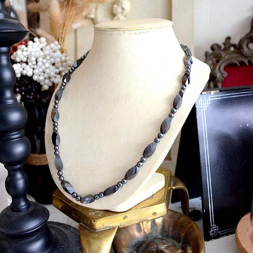 復古黑色樹脂暗花珠子項鍊 高貴優雅 日本二手中古珠寶首飾古著