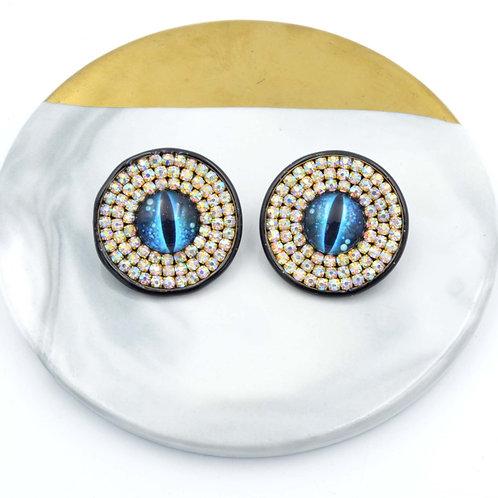 幻彩閃鑽貓咪眼睛耳釘 多款眼型顏色可選  接受訂製 直徑28mm 簡約