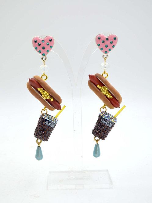可口可樂 熱狗汽水電影院套餐耳環  老件收藏擺件創作限量商品
