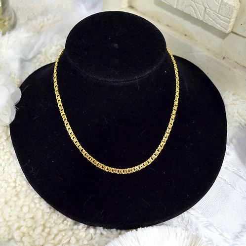 鍍金圈形幼項鏈 貴婦少女 輕珠寶 日本高級二手古著珠寶首飾