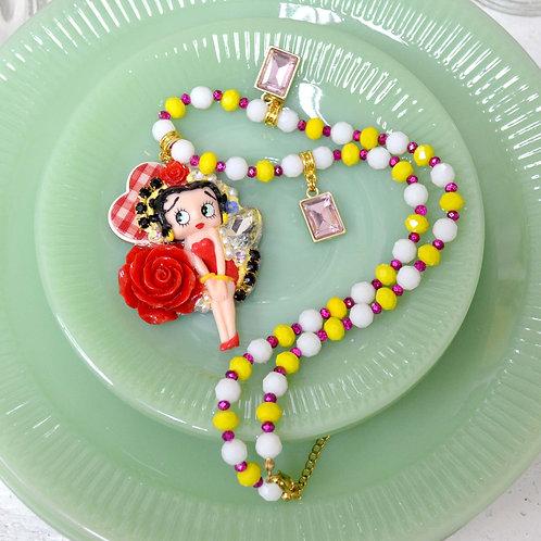 復古娃娃比蒂改裝製作 玫瑰花園吊飾項鍊 半寶石珠鍊 鍍18K金頸鍊