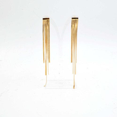 925銀針系列 18K鍍黃金色 排絮流蘇耳環 925純銀耳釘防過敏