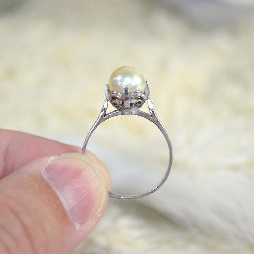 純銀花托真珍珠戒指 貴婦少女 輕珠寶 日本高級二手古著珠寶首飾
