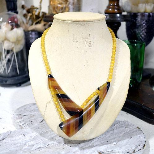 稀有琥珀牛骨項鏈 高貴優雅 日本二手中古珠寶首飾古著