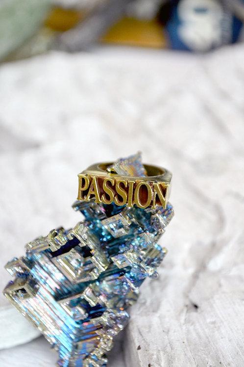 黃銅 PASSION 熱情英文字樣戒指 可調整尺寸
