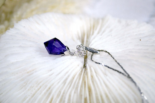 鍍銀項鏈鍍銀花托紫色水晶鏈墜 貴婦少女 輕珠寶 日本高級二手古著珠寶首飾